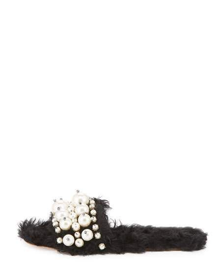 "Miu Miu shaggy fabric (mohair/cotton) slide sandal. 0.5"" flat heel. Open toe. Pearly strap. Smooth sole. ""Modifica Struttura"" is made in Italy."