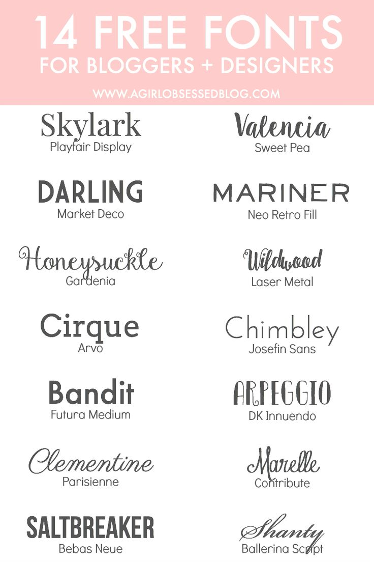 14 Free Fonts for Bloggers + Designers | A Girl, Obsessed (Note: I haven't checked all the TOUs but I recognize some as being okay for commercial use, i.e. Josefin)
