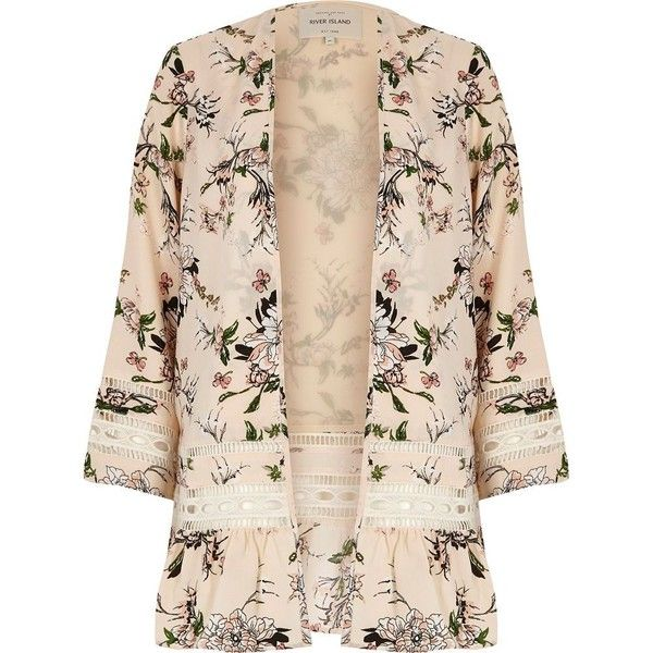 River Island Cream floral print lace kimono (€51) ❤ liked on Polyvore featuring outerwear, jackets, kimono, cardigans, coats, tops, cream, women, floral print kimono and floral lace kimono