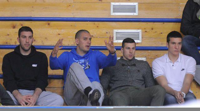 Special guests at the FMP - KK Partizan match (Dejan Musli, Saša Pavlović, Dragan Milosavljević and Bogdan Bogdanović)