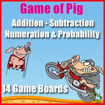 Number Sense Game: The Game of Pig is a perfect way to explore the patterns formed when adding on the hundreds chart. This game is also an excellent introduction to probability. Aim:- to explore 100s chart number patterns to aid mental computation.- to experiment with concepts of probabilityWhat You Need:1 game board2 players2 die2 different colored counters.How to Win:Be the first player to 100How to Play:1.