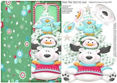 Polar Pals Mini DL Cut n Fold Over The Edge Card on Craftsuprint - Add To Basket!