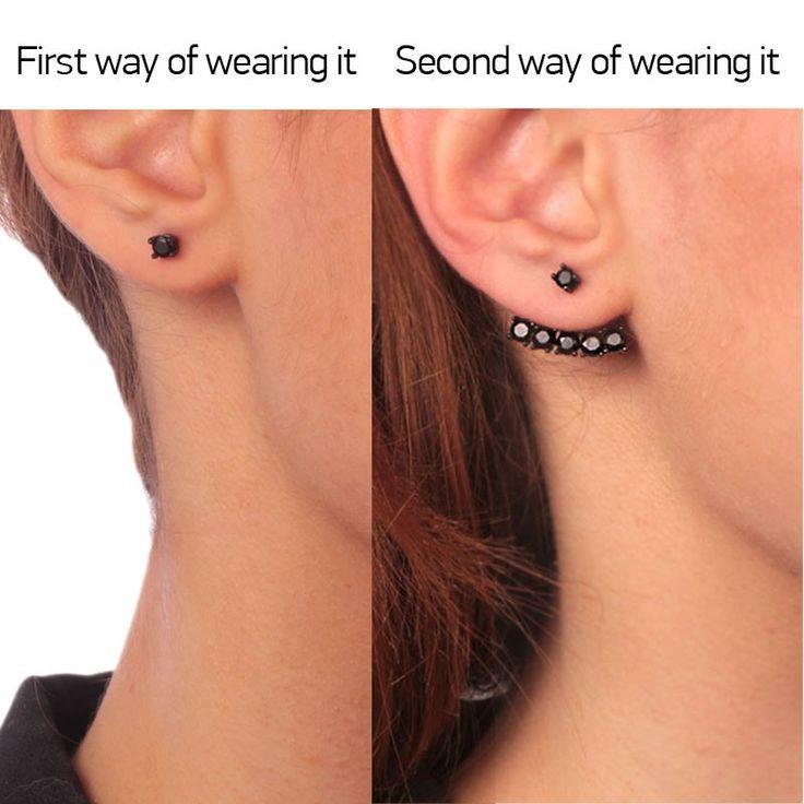 Ασημένια 925 μαύρα επιπλατινωμένα διπλά σκουλαρίκια Μονόπετρα μαύρα ζιργκόν. Τα κομψά σκουλαρίκια που φοριούνται με 2 τρόπους, είτε το πάνω μέρος μόνο του σαν καρφωτά είτε με την προσθήκη του κάτω jacket Μάτι για το απόλυτο ear party. Το must-have ear jac