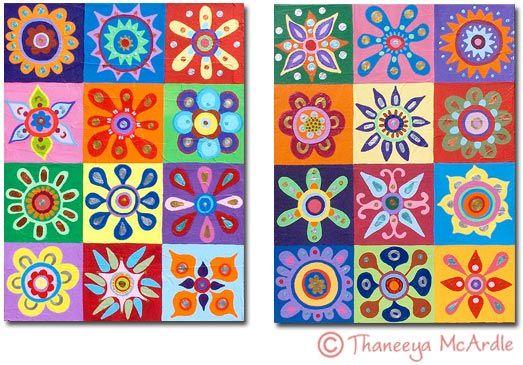 abstract bloemen schilderij