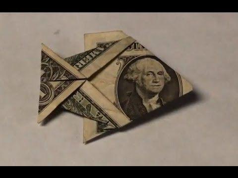 Dollar Bill Origami Fish Tutorial - How to make an Easy Angelfish from Money - $1 Dollar Moneygami