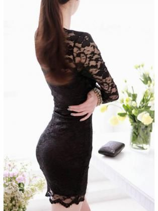 Sheath Long Sleeve Black Lace Mini Dress for Woman
