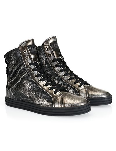 #HOGANREBEL R182 High-top #sneaker in metalic #leather effect back strap, rubber sole and invisible# wedge inside. Explore #urban #glamor on hoganrebel.com/women