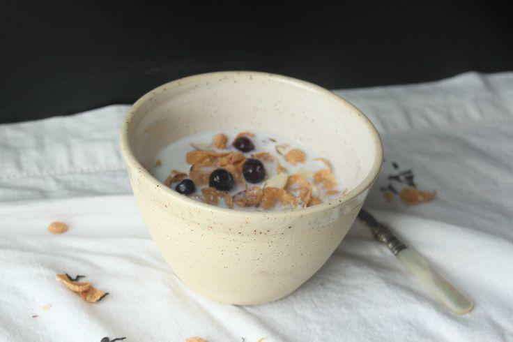 White glazed stoneware cereal bowl  - Stinging Nettle Studio