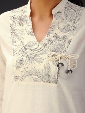 Cream Zari Embroidered Angrakha Yoke Cotton Voile Top - love the yoke and tie: