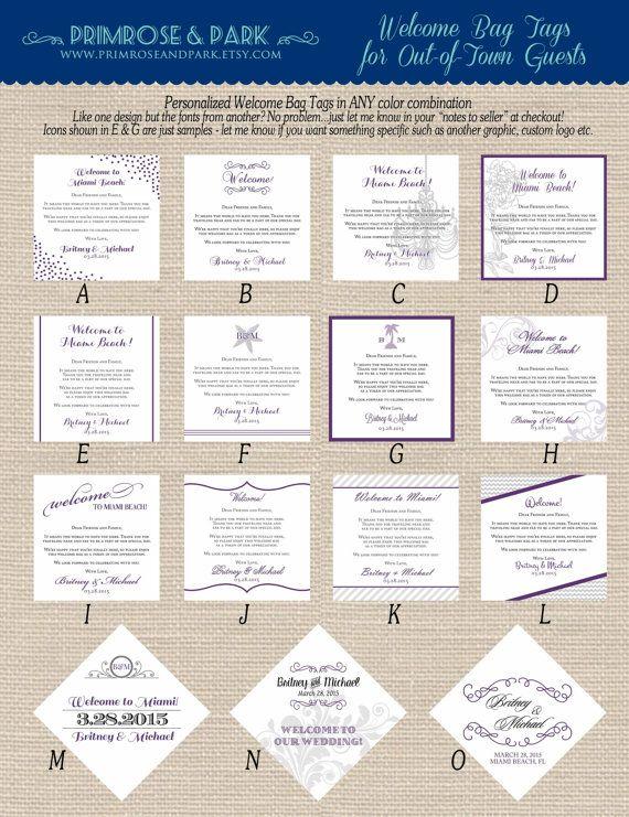 Wedding Hotel Welcome Bag Tags Printable PDF // by PrimroseAndPark