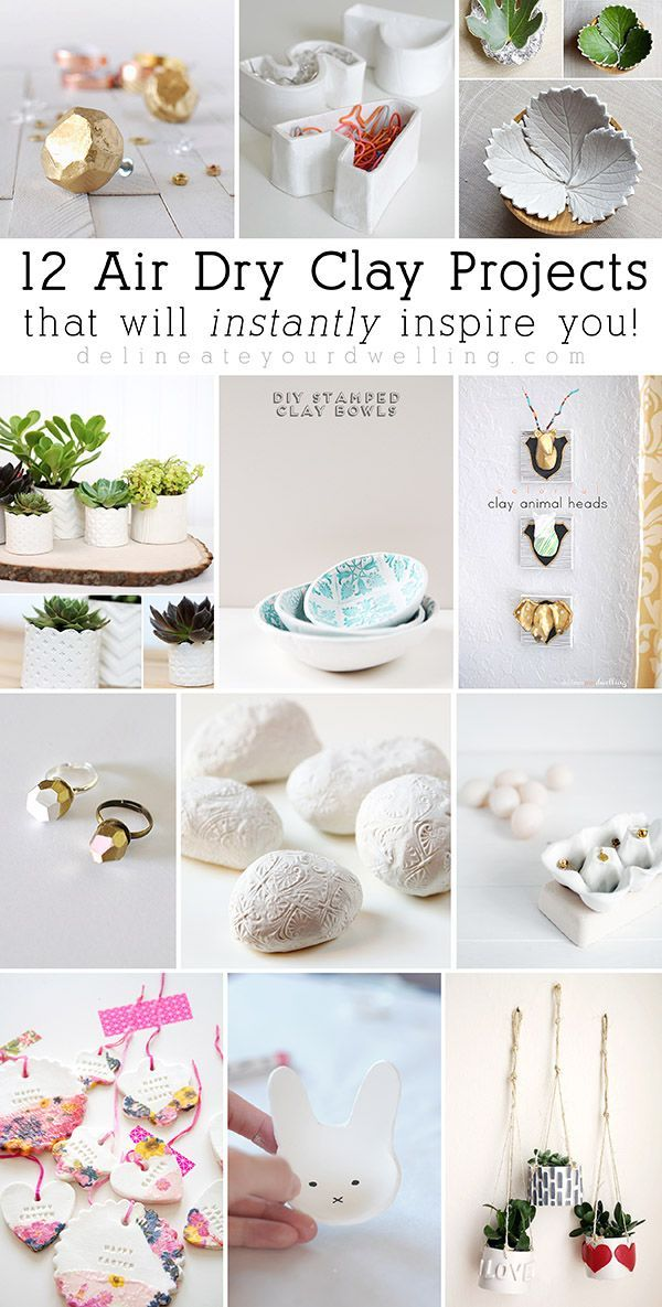 12 Air Dry Clay Projects that will instantly inspire you! Love how they all turned out and actually look easy to make! Delineateyourdwelling.com
