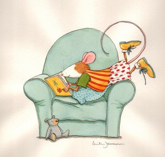Muisje Andersom vindt lezen leuk - Anita Jeram - Children's book illustration