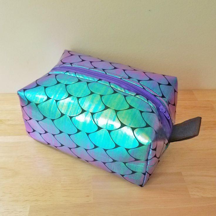 Iridescent Fish Scale Boxy Make-up Bag!