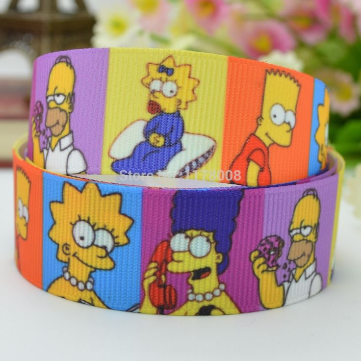 "Free shipping 7/8"" 22mm The Simpsons Cartoon Printed grosgrain ribbon hai rbow DIY handmade wholesale OEM 50YD //Price: $23.71 & FREE Shipping //     #hashtag3"