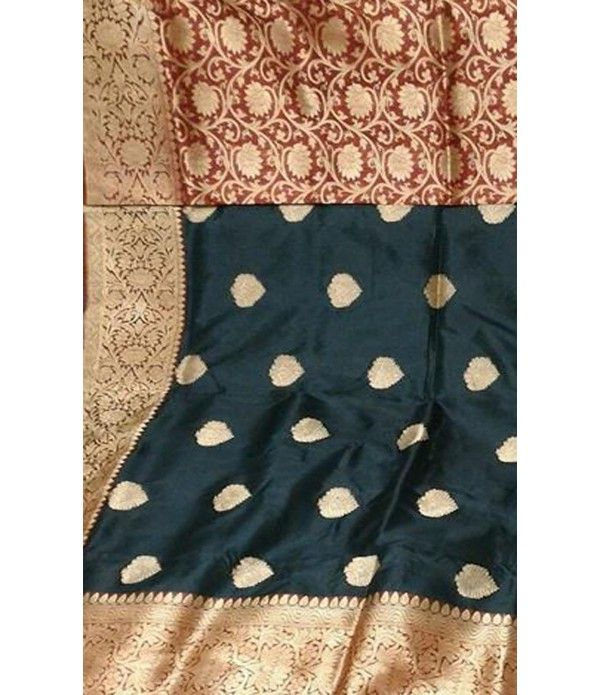 Black and Maroon Banarasi Handloom Katan Silk Saree