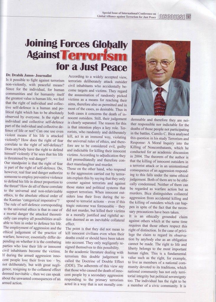 """A """"Világösszefogás a terrorizmus ellen az igazságos békéért"""" című tanulmányom angol nyelven lehozva a DISCOURSE c. lapban, 1. oldal. // Joining Forces Globally Against Terrorism for the Just Peace"""