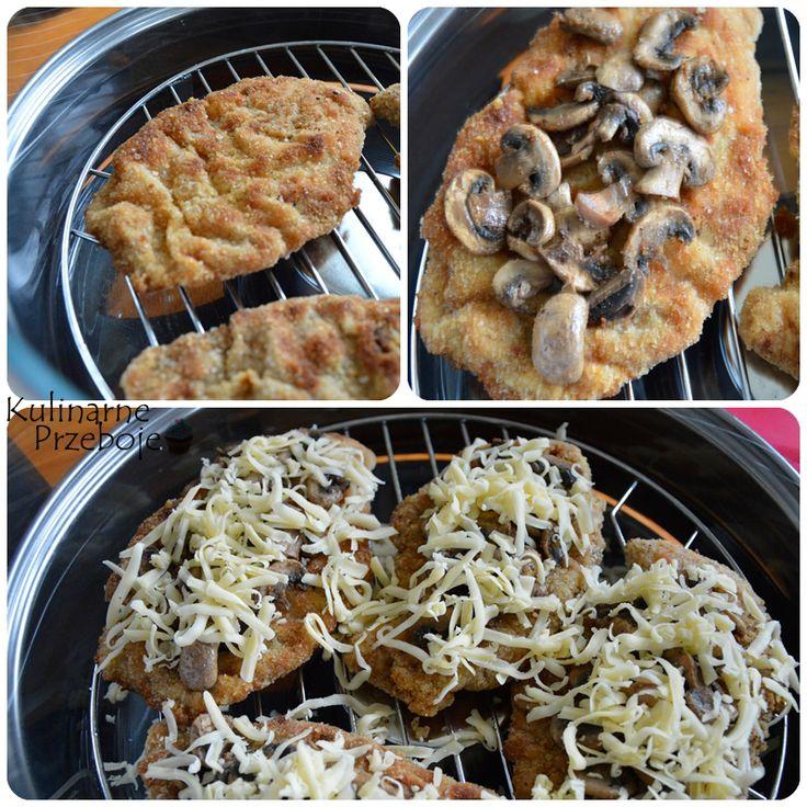Kotlety drobiowe zapiekane z serem i pieczarkami, kotlety zapiekane z serem i pieczarkami, kotlety z pieczarkami i serem.