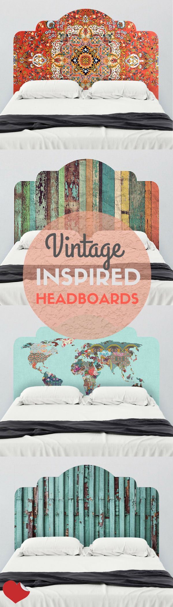 Get inspired by all things vintage and bohemian with these adhesive, vintage-inspired headboard wall decals at wallsneedlove.com. Perfect for renters, and college students. Their removable, reusable and oh so adorable. Find these and more at wallsneedlove.com!