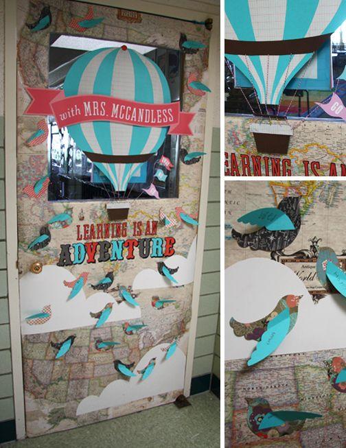 Teacher Appreciation Door decor.  with paper airplanes