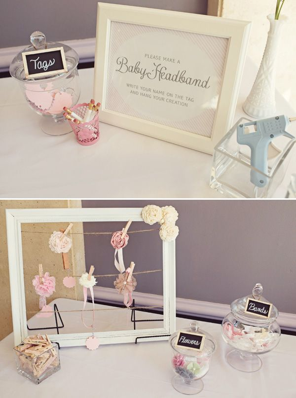 Make a baby headband table at a baby shower! How CUTE!