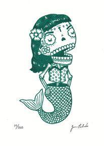 La Dama Sirena Gocco Print | Flickr - Photo Sharing!