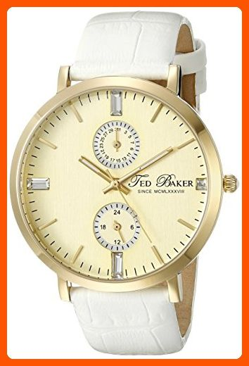 Ted Baker Women's TE2105 Smart Casual Gold Dial Gold Case White Strap Watch - All about women (*Amazon Partner-Link)