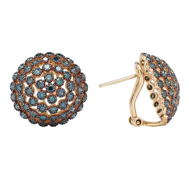 Blue Diamond Lace 14K Yellow Gold Earrings