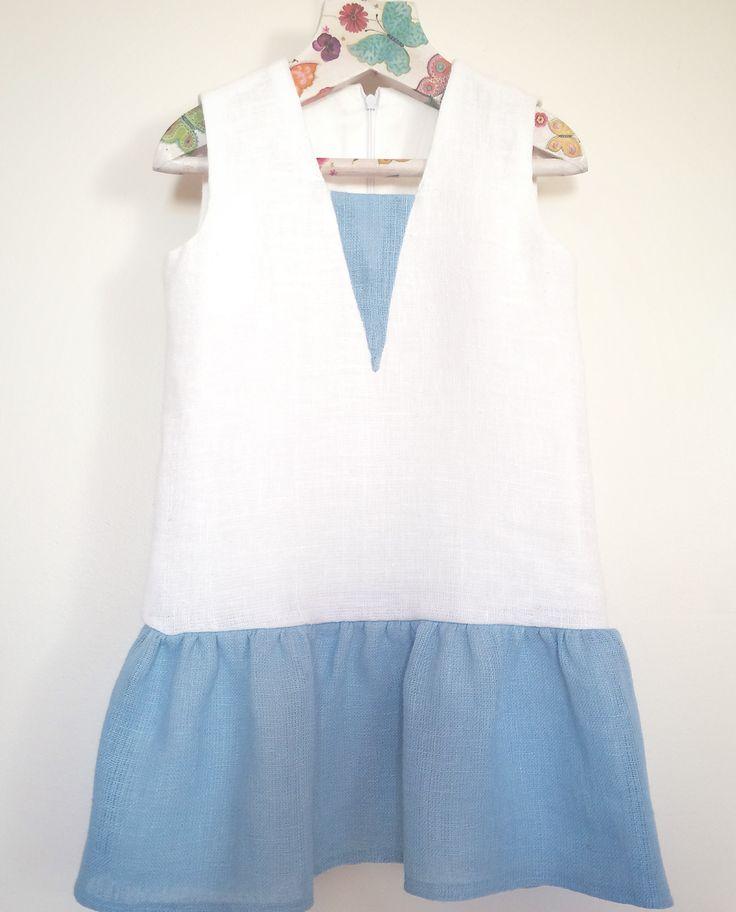 Girls Linen dress, Eco friendly girls dress, Girls Christening linen dress, Girls baptism outfit, Girls soft linen dress, white linen dress for girls, ruffle dress