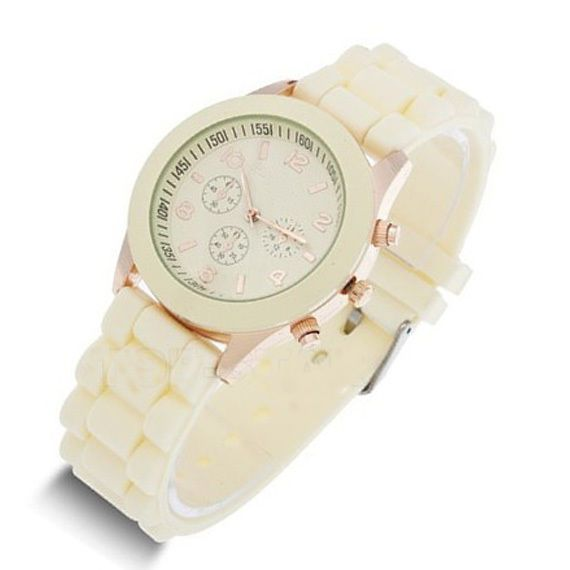 $15.88 for a Beige Jelly Silicone Vogue Rose Gold Women Girls Gift Fashion Wrist Watchs