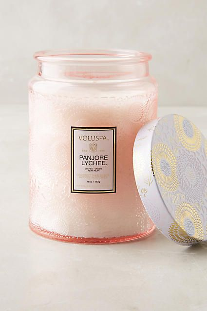 Voluspa Panjore Lychee: a citrus-tinged blend of Panjore lychee, cassis and juicy Asian pear