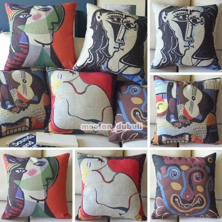 Pablo Picasso Famous Art Abstract Retro Linen Pillow Case Throw Cushion Cover #Handmade