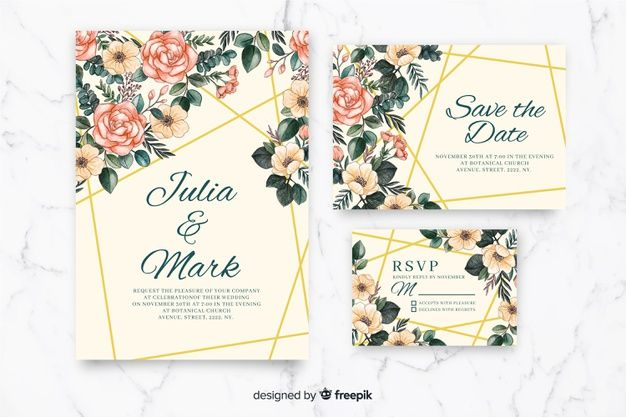Download Watercolor Wedding Stationery Template Collection For Free En 2020 Mariage Aquarelle Papeterie Mariage Modeles De Papeterie