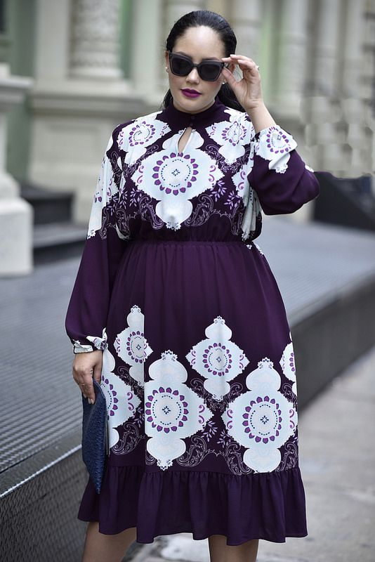 f2a75f3fd3d59 Girl With Curves X Lane Bryant Collection Medallion Print Dress Via   GirlWithCurves  GWCxLB
