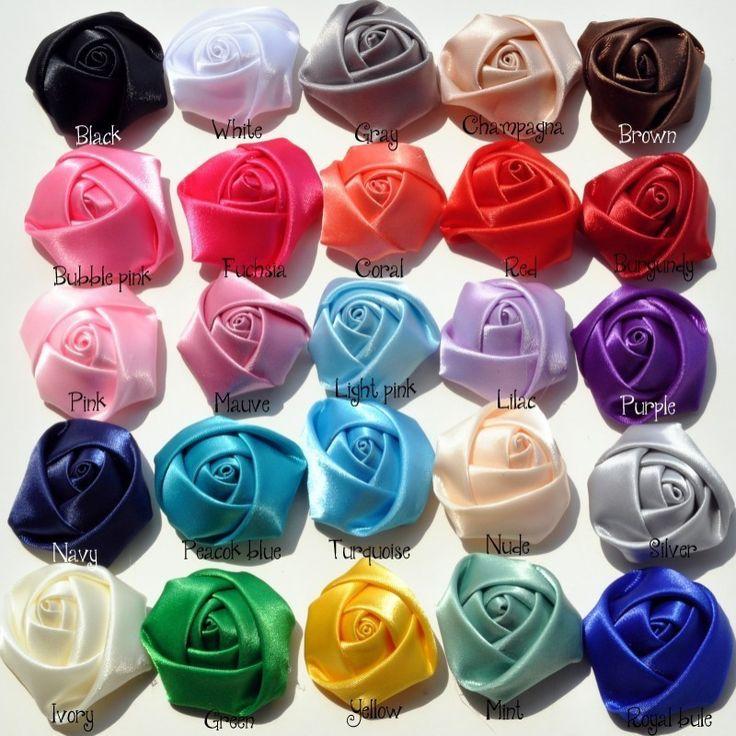 50 stks/partij 4 CM Stain Rolled Rozetten Kids Boutique DIY Satin Rose Bloemen Voor kinderen Bruiloft/Haaraccessoires