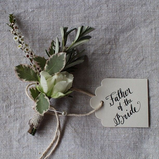 Pretty calligraphy tag by Floralovely Calligraphy for sweet buttonhole by Wild at Heart Flowers #floralovely #calligraphy #moderncalligraphy #wedding #weddingflowers #love #weddingcalligraphy #weddingcalligrapher