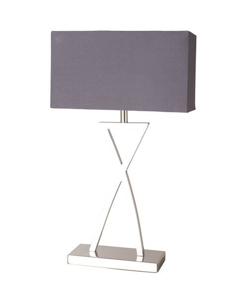 The $169 Madame is a modern table lamp. It's defined by its distinctive criss-cross chrome body. The rectangular gray cotton shade mimics the steel proportions at the lamp base. Sale Price $169