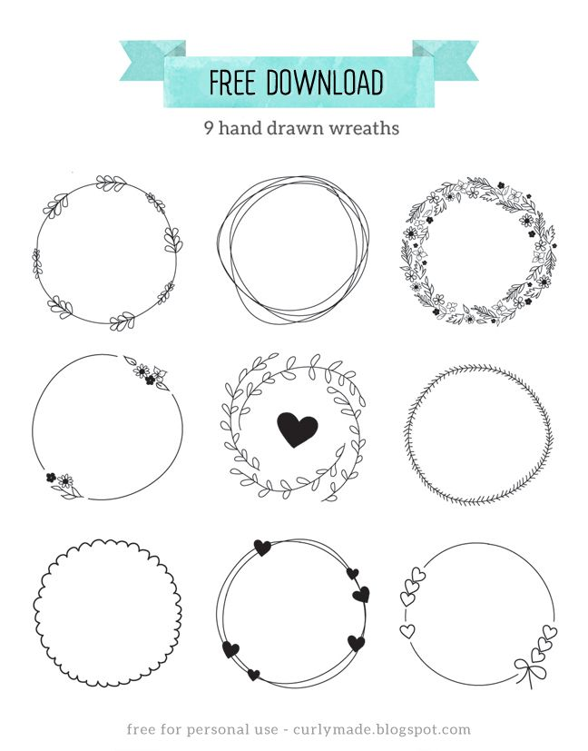 Curly Made: Free Download // Hand Drawn Wreaths