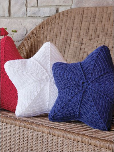 Stars - throw pillows / cushions.  Uses crochet trebles and treble post stitches.  #crochet #pattern