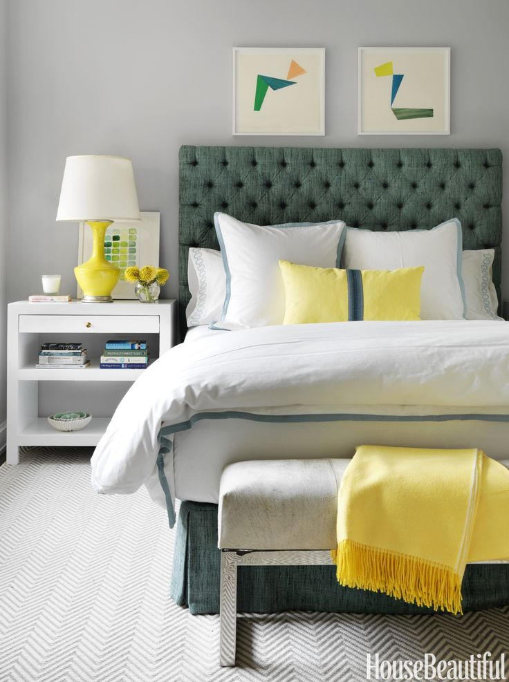 Gray Blue Geometric Rug In Lbedroom Designed By Christina Murphy Featured