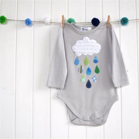 """""""Rainy Day"""" Applique Bodysuit  Size 2 Cloud, rain, boys, applique"""
