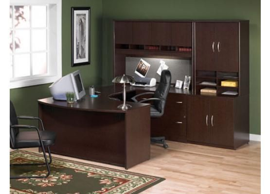 Bush Corsa Series U Shape Wood Office Set With Hutch In Mocha Cherry Lowest Price Online On All