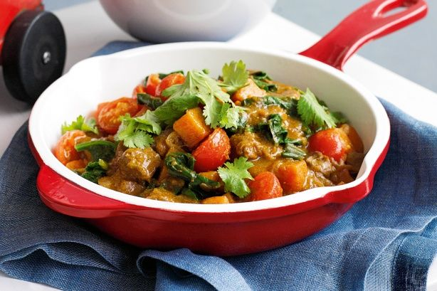 Lamb Curry with Sweet Potato, Cherry Tomatoes and Spinich