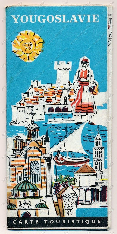 YUGOSLAVIA TOURIST MAP PLAN - vintage old brochure prospect map
