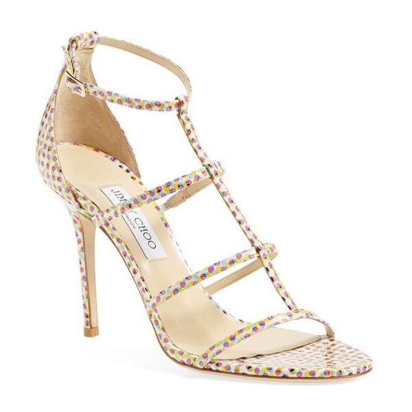 """Jimmy Choo 'Dory' Strappy Cage Sandal, 4"""" heel ($795) ❤ liked on Polyvore featuring shoes, sandals, latte mix patent, high heel sandals, patent leather sandals, strappy high heel sandals, multi color sandals and jimmy choo sandals"""
