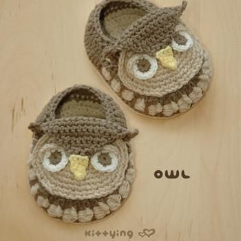 Owl Baby Booties Pattern by Kittying pattern on Craftsy.com
