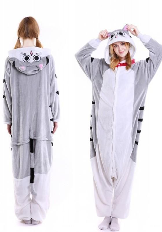 bdd5314a4d37 White Animal Cat Pockets Buttons Oversize Cosplay Onesie Pajamas Long  Jumpsuit