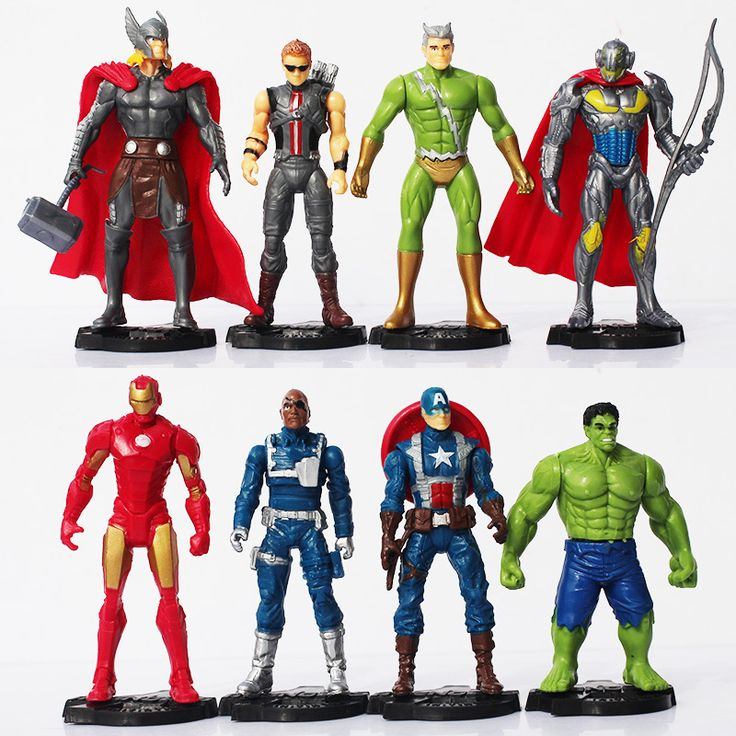 8pcs/set The Avengers Age of Ultron Iron Man Ultron Nick Fury Hulk Captain America Action Figure Toys