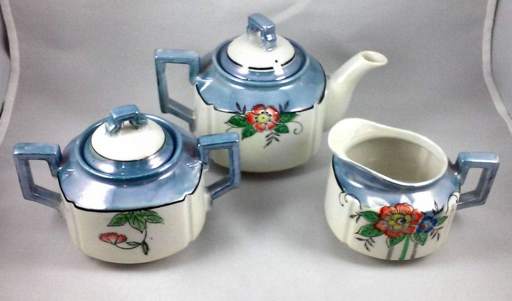 Small Floral Tea Set In Blue and White made in Japan