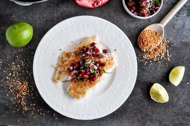 Coconut crusted tilapia fried in coconut oil with pomegranate salsa.