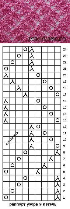Узор 538 японские кружева | каталог вязаных спицами узоров